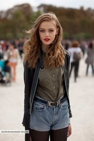 light brown wavy locks, buttondown, denim shorts, tights and red lipstick!! I have and love this whole look :)
