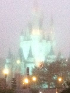Cinderella's Castle drapped in an early morning mist ~ Magic Kingdom  This is not a special effect on the camera, this is what it actually looked like as the sun came up on March 1, 2012