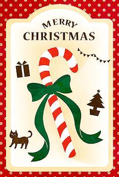 しましまキャンディ クリスマス 2016 無料 イラスト お菓子のパッケージのような可愛さがあるクリスマスカードです。赤と白のしましまキャンディやドット柄の背景がポップな印象★ポストカードにして飾れば、クリスマス気分もあがります