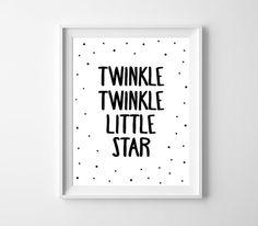 Nursery Art Printable Twinkle Twinkle Little Star by BabyCoStore Star Nursery, Nursery Decals, Nursery Wall Art, Monochrome Nursery, Printing Websites, Kids Room Art, Twinkle Twinkle Little Star, Printable Art, Star Party