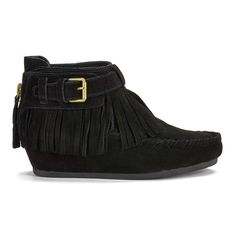 Ash Women's Spot ATS Suede Fringed Wedged Ankle Boots (2,085 SVC) ❤ liked on Polyvore featuring shoes, boots, ankle booties, black, fringe wedge booties, fringe booties, black leather boots, flat ankle boots and leather ankle boots