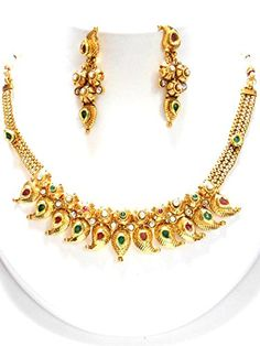 Indian Traditional Imitation Gold Tone Jewelry / AZINGT406-GRG Arras Creations http://www.amazon.com/dp/B00VI8I87U/ref=cm_sw_r_pi_dp_yB-lvb1ZQ093Z