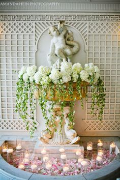 Focus Tablescape Using a Cherub wall fountain - Beautiful for any romantic event or wedding