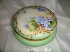 T&V - Limoges - Powder Box - Hand Painted - Violets - Gilded Design - Enamel Jewels - Gold Beads