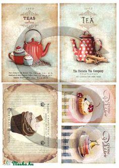 Vintage sorozat: Pöttyös teáskanna rizspapír, Papír, Decoupage papír, A 4-s méretű rizsnyomat, vékony 20 gr-s rizspapíron, découpage technikához. Az eredeti nyomato..., Alkotók boltja