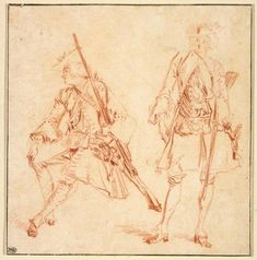 Jean-Antoine Watteau (1684–1721), Two Studies of a Soldier, One Seated, the Other Standing, ca. 1712. Red chalk, within brown ink framing lines, 5 9/16 × 5 7/16 in. (14.2 x 13.8 cm). Musée du Louvre, Department of Prints and Drawings, Paris.