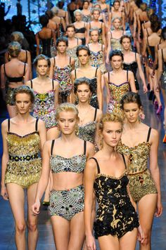 """Dolce & Gabbana SS/12 - the """"ethnicity"""" doesn't work only """"horizontally"""" (geographically) but also """"vertically"""" (historically), like here : same bathing suits like in 50's .... :-)"""