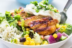 Chipotle's Chicken Burrito Bowl with Cilantro Lime Rice; looks like she has lots of good & healthy recipes
