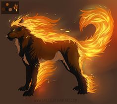 Firenze Lead warrior Flame Strong willed and level headed, pleadged loyalty to Phantom years ago. Fantasy Wolf, Fantasy Beasts, Dark Fantasy Art, Cute Fantasy Creatures, Mythical Creatures Art, Magical Creatures, Anime Wolf, Wolf Character, Mystical Animals