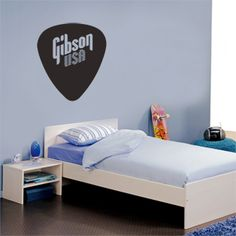 Gibson usa style plectrum/ pick guitar plastic removable art. Wall sticker decals.