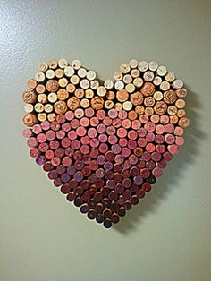 ombre heart made from wine corks.
