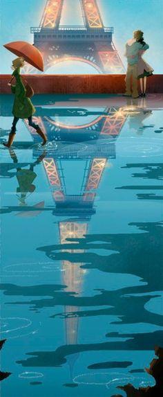 Eiffel Tower, Paris, France - Photo by Brittney Lee Illustrations, Illustration Art, Marinette E Adrien, Brittney Lee, Parasols, Umbrellas, Animation, Oui Oui, Belle Photo
