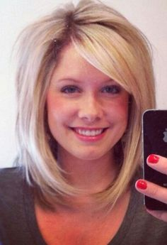 Long bob side swept bangs. This is the cut I want just a tad longer