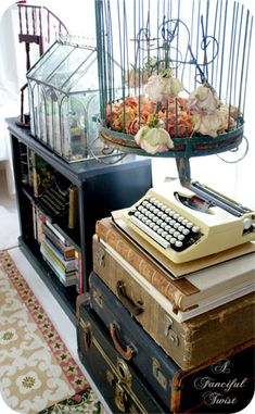 Oh good. I'm not the only one with an affinity for old suitcases, vintage typewriters, and bird cages. Mind you... I haven't combined them.  Off to rearrange, lol
