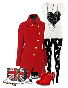 """""""Union Jack and More!"""" by tarlo ❤ liked on Polyvore featuring Vivienne Westwood Anglomania, Reverse, H&M, Kenneth Jay Lane, Gucci, Zelia Horsley, women's clothing, women, female and woman"""