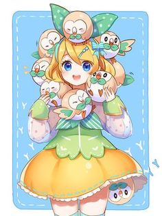 I love how one of the owls are coming out of her pants Pure Art here | Pokemon