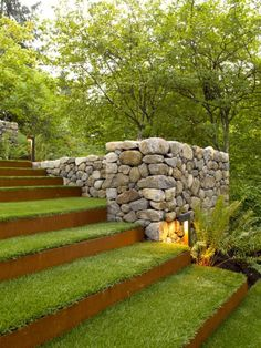 15 Modern Garden Stairs Ideas Bring Perfection Obviously - TheGardenGranny Landscape Steps, Landscape Architecture, Landscape Designs, Architecture Design, Landscape Bricks, Landscape Fountains, Garden Stairs, The Secret Garden, Sloped Garden