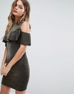 cffa85213b New Look Metallic Ruffle Cold Shoulder Bodycon Dress at asos.com