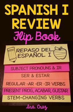Spanish 1 Review Flip Book This flip book includes the following: -Printing and assembly directions -Subject pronouns -Ser -Estar -Ir -Ir + a + infinitive -Acabar + de + infinitive -Regular AR verbs -Regular ER verbs -Regular IR verbs -Irregular yo verbs -Ser vs. Estar uses -Stem-changing verbs -Gustar -Present progressive tense https://www.teacherspayteachers.com/Product/Spanish-I-Review-Flip-Book-2032295