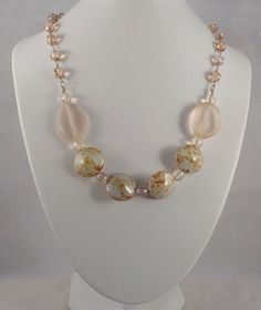 Chunky Picasso Statement Necklace with Clear Apricot Beads and Luster Melons