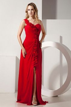 2013 Red Empire One Shoulder Hand Made Flowers Prom / Evening Dress Brush Train Chiffon Discount Prom Dresses, Prom Dresses For Sale, Prom Dresses Online, Prom Party Dresses, Pageant Dresses, Dama Dresses, Prom Gowns, Dress Online, Sexy Evening Dress
