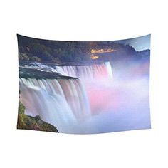 Interestprint Colorful Rainbow Niagara Stream Waterfall Tapestry Wall Hanging Landmark Nature Landscape Wall Decor Art for Living Room Bedroom Dorm Cotton Linen Decoration 80 X 60 Inches >>> Continue to the product at the image link.