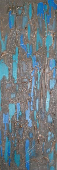 "Waterfall - 30""x10"", acrylic mixed-media on canvas"