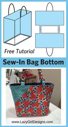 Free Tutorial: Easy Sew-In Support for Bag Bottoms (Lazy Girl Designs)- Free Tut. - Free Tutorial: Easy Sew-In Support for Bag Bottoms (Lazy Girl Designs)- Free Tutorial: Easy Sew-In - Sewing Hacks, Sewing Tutorials, Sewing Crafts, Sewing Tips, Bags Sewing, Tote Bag Tutorials, Sewing Basics, Sewing Clothes, Sewing Jeans