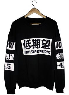Product 003 is a versatile black sweatshirt. Part of the Black Series capsule collection. - White '低期望' Frontal and Sleeve design...