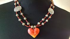 Beaded necklace, silver colored diveders, polymer clay hanger Now available at Etsy