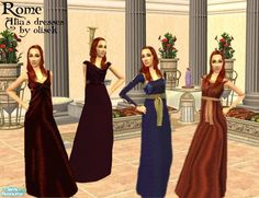 It's a set of dresses worn by Atia of the Julii from the 'Rome' series. They appear both as everyday and formal.  Found in TSR Category 'Sims 2 Clothing Sets'