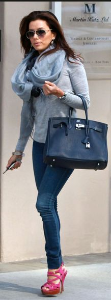 Eva Longoria:  Purse – Hermes    Jeans – Henry & Belle    Shoes – SEBASTIAN    similar style jeans by the same designer