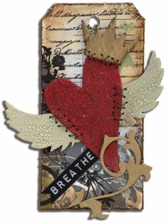 breathe - heart w/ wings & crown. Tim Holtz die, love the stitching.