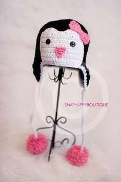 penguin hat winter hats black white cute baby by snaphappyboutique, $25.00