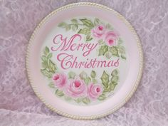 PINK ROSE MERRY CHRISTMAS TRAY hp chic shabby vintage cottage hand painted holly