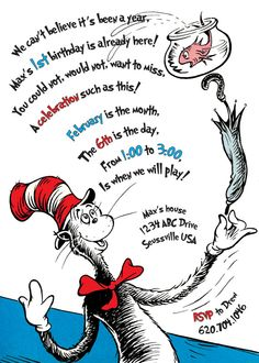 The excellent The Cat In The Hat Birthday Invitation. Printable With Regard To Dr Seuss Birthday Card Template digital photography … Dr Seuss Birthday Party, Birthday Fun, First Birthday Parties, Birthday Cards, Birthday Ideas, Birthday Rhymes, Thomas Birthday, Birthday Stuff, Dr. Seuss