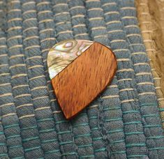 Koa Guitar Pick  Abalone inlay handmade wooden guitar pick on Etsy, $17.00