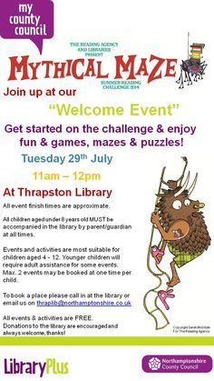 Summer Reading Challenge Welcome Event at Thrapston Library Tuesday 29th July