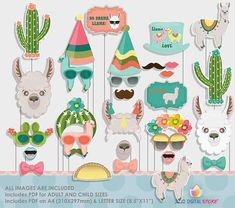 Llama Cactus Bolivian Peru Party Photo Booth Props for Llama Cactus Party Alpacas, Cactus, Llama Birthday, Party Props, Party Ideas, Photo Booth Props, Unicorn Party, First Birthdays, Party Time