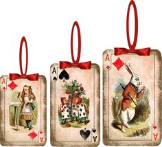 Christmas Alice in Wonderland 8 playing card ornaments assorted sizes #HandMade Elizabeth's Tree