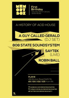 Memorybox 1st Birthday feat. A Guy Called Gerald | Plan B | London | https://beatguide.me/london/event/plan-b-memory-box-1st-birthday-with-a-guy-called-gerald-808-state-saytek-20140125