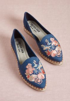 Chelsea Crew Deemed Dreamy Embroidered Flat - We officially designate these blue flats by Chelsea Crew as adorably imaginative! Atop each pointed toe resides an embroidered scene of hummingbirds, butterflies, and pretty pink flowers, which mingle effortlessly with the braided, espadrille-style trimmings and treaded bottoms of these lovely loafers. Fab!