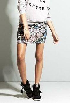 Cute! Mosaic Print Body-Con Miniskirt