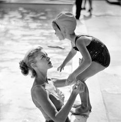 I had this swim cap...and the scared eyes    clubmyrtlemae:    Lauren Bacall and her daughter Leslie.