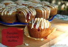 Pumpkin Cranberry Muffins with Orange Icing by ComfortablyDomestic.com