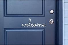 """welcome - Vinyl Lettering Word Door or Wall Art Home Decal - 14"""" W x 5"""" H on Etsy, $7.00 back doors, door vinyl welcome, door letter decorations, garage doors, door colors, front doors, hous, decorative door as art, vinyl decals"""