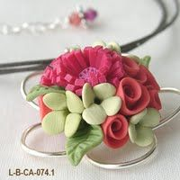 Polymer Clay Flower Necklace.