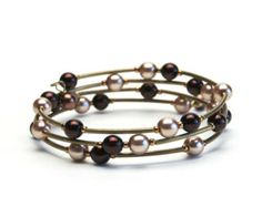 Bracelets to Make Curved Tube Tutoriaks | Wire Bracelet with Brown Glass Pearls and Antique Brass Curved Tube ...