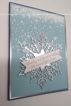 New Chritmas 2018 Trend? Stampin' Up Snow Is Glistening Christmas Card Sneak Peek Diy Christmas Fireplace, Diy Christmas Snowflakes, Snowflake Craft, Snowflake Decorations, Christmas Fun, Beautiful Christmas, Rustic Christmas, Christmas Decorations, Christmas Cards 2018