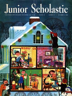 """Junior Scholastic Magazine Illustrated by Lowell Hess (December 1959) - if you're into kid's Christmas books, check out Lizzy's """"Noel Kids Books & ..."""""""